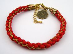 Red and Gold Chinese Style Kumihimo Bracelet  Red by misswood91, $9.50