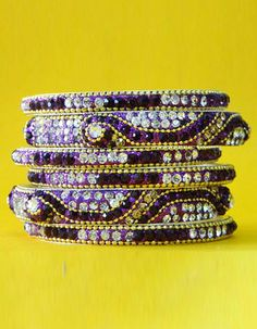 #Bangles, #Bracelets & #Kadas - Purple Stone Studded Bangles Costs Rs. 770. #Jewellery. BUY it here: http://www.artisangilt.com/jewellery/bangles-bracelets-kadas/purple-stone-studded-bangles-26541.html?ref=pin