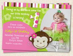 Sale save 20 mod monkey girls birthday party package banner mod monkey birthday invitations 1259 via etsy filmwisefo