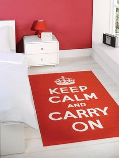 Matrix Themes Keep Calm & Carry On Modern Rug - Red, White