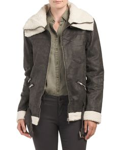 Moto Jacket With Faux Sherpa