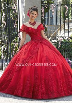 Shop Morilee's Embroidery and Beading on a Tulle Quinceañera Ball Gown. Quinceanera Dresses by Morilee designed by Madeline Gardner. Gorgeous Floral Embroidey Takes Center Stage on This Tulle Quinceañera Dress with Corset Back. Tulle Balls, Tulle Ball Gown, Ball Gown Dresses, 15 Dresses, Wedding Dresses, Fashion Dresses, Dresses Dresses, Red Quinceanera Dresses, Quince Dresses