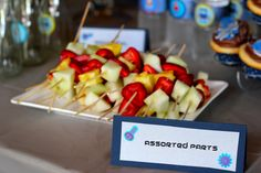 Indulge: A Robot Birthday Party--fruit skewers!...nice...