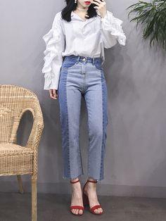 마리쉬♥패션 트렌드북! White Casual, Korean Style, Asian Fashion, Mom Jeans, Shirt Designs, Hair Beauty, Trousers, Street Style, Fashion Outfits