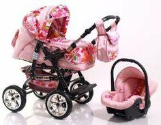 Poussette combinée Adbor BABY LUX 3en1 nacelle+couffin+siège sport+ siège auto/cosy, roues air - couleur: Nr.40 rose / fleurs