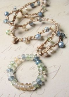 "BEACHCOMBER Beaded Crochet ""Beach Glass"" Necklace"