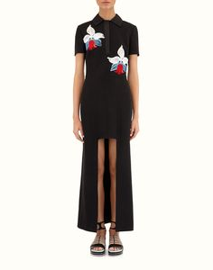 FENDI | MINI/MAXI DRESS in black Cady with orchid embroidery