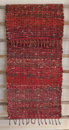 Hand Woven Red Green Striped Christmas Table Runner  14