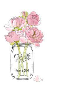"LINE BOTWIN ""Girly illustrations# #chic #fashion #girly #illustration unfocuseddesigns : Flowers in a Mason Jar"