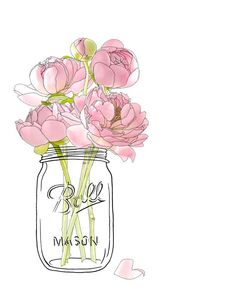 "LINE BOTWIN ""Girly illustrations# #chic #fashion #girly #illustration  unfocuseddesigns : Flowers in a Mason Jar"