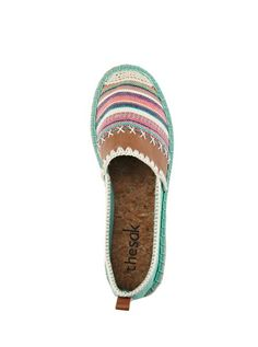 New fun colors and details for the Ella espadrille featuring The Sak signature crochet heel detailing.