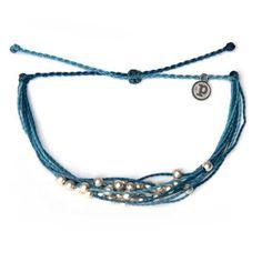 博客來-Pura Vida 美國手工 PLATINUM BLUE 銀珠系列重量感 可調式防水衝浪手繩 手鍊藍色