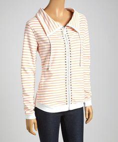 Loving this White & Coral Stripe Stud Zip-Up Hoodie on #zulily! #zulilyfinds