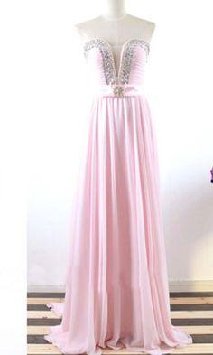 Crystal Sheer Plunge Long Pink Prom Dresses KSP367