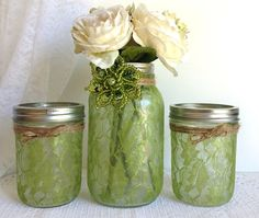 green lace mason jars  olive green lace covered 3 by PinKyJubb, $30.00