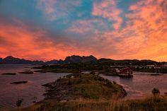 Krokholmen Norwegen Lofoten, Aurora Borealis, River, Celestial, Sunset, Outdoor, Nordic Lights, Mountain Climbing, Sailing