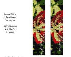 Your choice of a printed or emailed pattern. This bracelet KIT is for your choice of even count peyote stitch or bead loom weaving, using an 11/0 Delica seed bead palette. There are 10 colors. All of the Delica beads will be included, enough to make one bracelet. Image of worked up bracelet, large bead chart, bead color legend and word chart included in the printed pattern that will be mailed with the beads. Measures 1.27 x 6.9. Digital version of the pattern is available upon request after