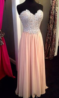 Pink Chiffon Prom Dress,Long Prom Dress,Cheap Prom Dress,A Line Sweetheart Prom Dresses,Blush Beadings Evening Prom Gown custom made
