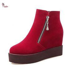 VogueZone009 Femme Zip Rond à Talon Haut De Cheville Bottes avec Métal, Rouge, 35 - Chaussures voguezone009 (*Partner-Link)