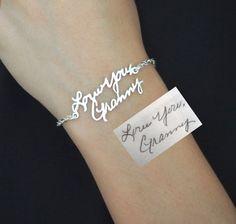 SALE Signature Bracelet in Sterling Silver/Personalized Signature Bracelet/Handwriting/Keepsake Bracelet/Bridesmaid Gift/Christmas Gift by SilverHandwriting on Etsy