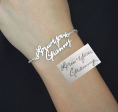 SALE Signature Bracelet in Sterling Silver/Personalized Signature Bracelet/Handwriting/Keepsake Bracelet/Bridesmaid Gift/Christmas Gift by SilverHandwriting on Etsy