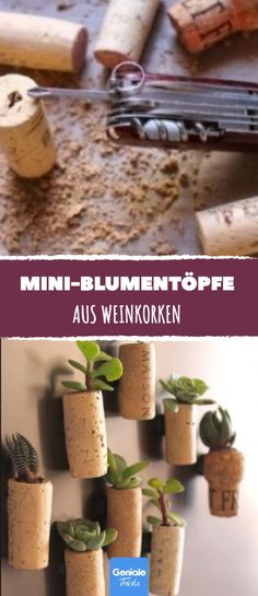 Mini flower pots made of wine corks. - Diy and Crafts to Upcycled Crafts Flower Bar, Flower Pots, Potted Plants Patio, Holiday Cupcakes, Diy Crafts To Do, Christmas Ad, Design Blog, Lighting Concepts, Favorite Holiday
