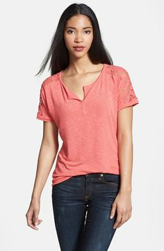 Olivia Moon Lace Back Split Neck Tee | Nordstrom
