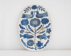 handmade > eco inspired > Whimsical Graphic Ceramic Serving Plate | via Makoto Kagoshima