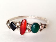 Silver Bracelet 925 w/ Stones Green Agate Red Carnelian Black Onyx Vtg Mexico #Bracelet #Womensfashion #Vintage #Jewelry
