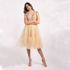 - ROCHIE DE OCAZIE - DECOLTEU ADANC - BUST BRODAT CU PERLE SI FLORI 3D - TALIE MARCATA - CAPTUSITA PE INTERIOR - CROI IN CLOS - MATERIAL : TULLE -ROCHIE PENTRU CUNUNIA CIVILA Skirts, Interior, Fashion, Bead, Moda, Indoor, Fashion Styles, Skirt