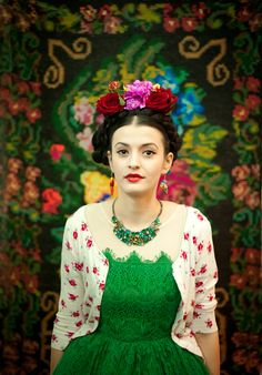 beautiful traditional style mexican ,frida kahlo fashion and photography love the outfit and the floral tapestry in the background