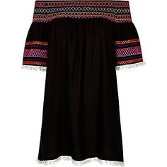 Black shirred pom pom bardot dress $60.00