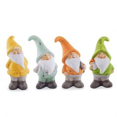 'The Borders' Set Of Four Bright Terracotta Garden Gnome Ornaments.  Looks like I have some ordering to do. So adorable!!! ❤️ them all!!