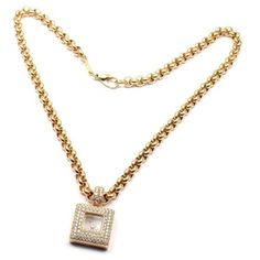 Pre-owned Chopard Happy Diamonds 18k Yellow Gold 1.14 Ct Diamond... ($10,500) ❤ liked on Polyvore featuring jewelry, necklaces, yellow gold diamond necklace, gold pendant necklace, thick chain necklace, round pendant necklace and round diamond necklace