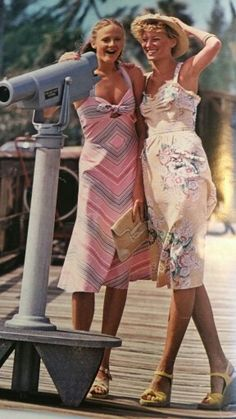 Sweet summer dresses on a couple of teens in the 1970s.