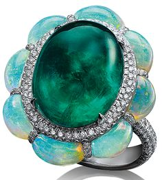 Cellini - Cabochon emerald ring, framed with paved diamonds and half moon shaped opals