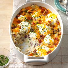 "Loaded Red Potato Casserole Recipe -""This potato casserole has the same flavor of the potato skins you can order as a restaurant appetizer,"" shares Charlane Gathy of Lexington, Kentucky. ""It's an ideal dish for tailgating and potlucks."""