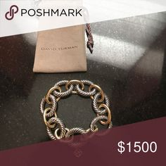 New: Extra-Large Oval Link Bracelet Sterling Silver with 18k Gold links size M, proof of purchase included. David Yurman Jewelry Bracelets