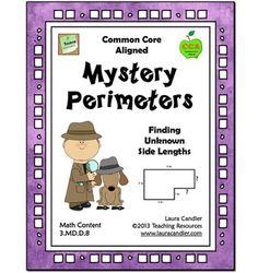 Free-Mystery Perimeters Freebie from Laura Candler's Common Core Math Resources page Math Teacher, Math Classroom, Teaching Math, Teaching Tips, Teacher Binder, Classroom Decor, Math Strategies, Math Resources, Math Activities