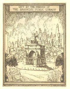 """""""Gift of the Friends of Brooklyn Public Library"""" bookplate depicts etching of view of Brooklyn Soldiers' and Sailors' Monument and Manhattan skyline, winner of 1939 competition, likely by Ernest D. Roth / Brooklyn Public Library Bookplate Collection, NYC, USA"""
