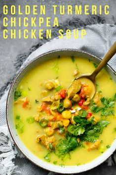If you're looking for a new, go-to healthy winter soup, look no further. This tasty, healing winter recipe for Golden Turmeric Chickpea Chicken Soup is healthy, packed with protein and is FULL of flavor! You can easily make this recipe vegetarian by subbing in an extra can of chickpeas in place of the chicken, and it is totally delicious! It's sweet, it's spicy, and it's totally addicting! #chickensoup #healthysoup #detoxsoup #detox