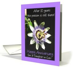 o a special Son and Daughter in law,  wishing you lots of happiness for today, tomorrow and always.   Congratulations on your anniversary!  Created from an original Studio Porto Sabbia photo! This Passiflora anniversary card is also available as a general card for all anniversary years from 1st to 60th and for some specific family relations
