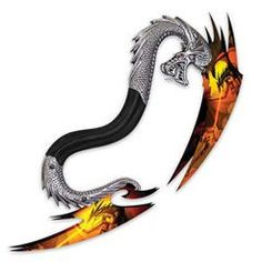 Double Blade Flaming Dragon Handle Fantasy Knife