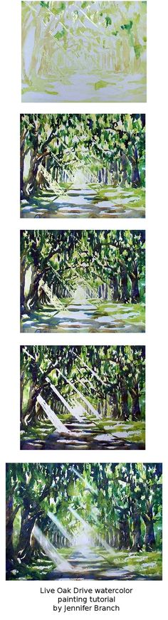 Step by step watercolor painting of a long drive lined with Spanish moss and live oaks. Jennifer Branch.
