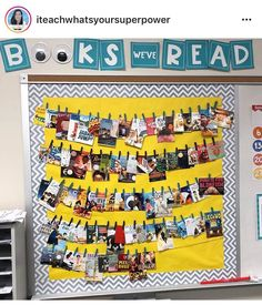 Use pictures from activities throughout the year instead of books Reading Bulletin Boards, Classroom Bulletin Boards, Classroom Displays, Classroom Decor, 5th Grade Reading, Guided Reading, Class Library, Reading Anchor Charts, Creative Class