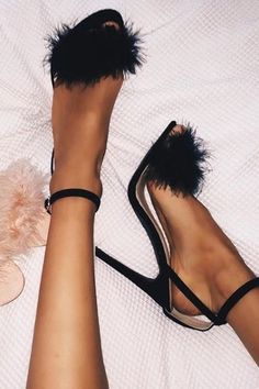 fuzzy black stilettos