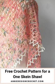 One Skein Crochet, Crochet Shawl Free, Crochet Wool, Crochet Shawls And Wraps, Crochet Scarves, Crochet Crafts, Crochet Clothes, Crochet Motif Patterns, Shawl Patterns