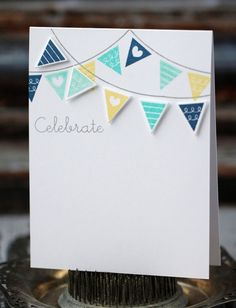 Celebrate - handmade card, blue, aqua, and yellow banner via Etsy