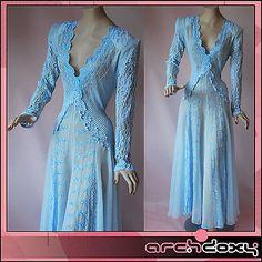 Vintage Fabulous Sheer Plunge Neck Lacey Power Dance Powder Blue Chiffon Dress - http://www.ebay.co.uk/itm/like/282048159677?clk_rvr_id=1035782632338&item=282048159677&lgeo=1&vectorid=229508&rmvSB=true