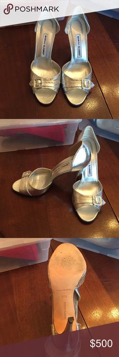 Silver Buckle Snakeskin Pump MANOLO BLAHNIK Cerritos Buckle Snakeskin D'Orsay Pump. Worn once. Manolo Blahnik Shoes Heels